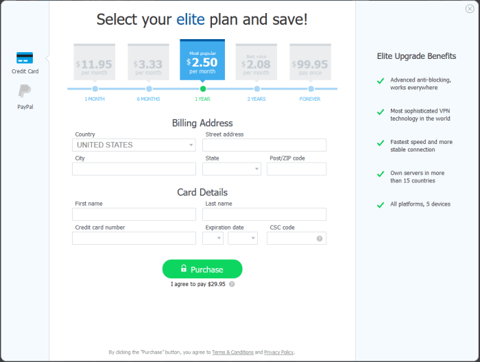 Pricing for Hotspot Shield